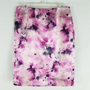 Jones New York Pencil Skirt Silk Floral Purple